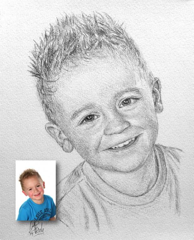 Van portret foto naar tekening.
